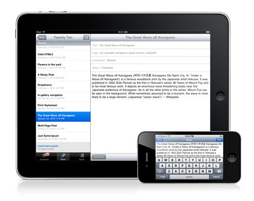 wordpress app voor iphone en ipad