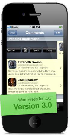 Swipe-to-moderate in version 3.0 of WordPress for iOS