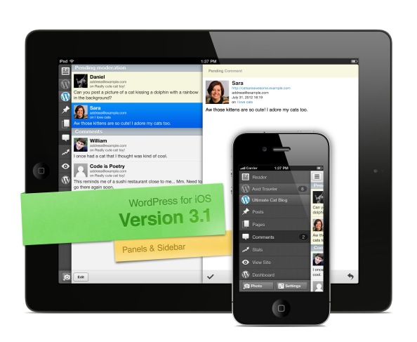 Version 3.1 of WordPress for iOS: Panels & Sidebar