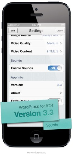 Version 3.3 of WordPress for iOS: Sound effects